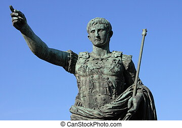 Roman emperor Augustus - A detailed view of the statue of...