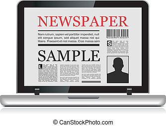 Online newspaper. Laptop and news website on white