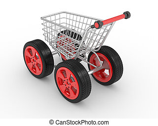 3d shopping cart with big car wheel
