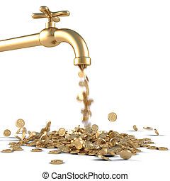 golden tap - gold coins fall out of the golden tap. isolated...