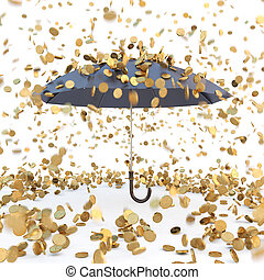 rain from golden coins falling on the open umbrella isolated...