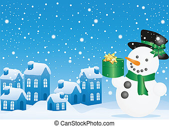 Christmas snowman with gift - Blue vector illustration of...
