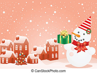 Christmas houses and snowman - Vector illustration of...
