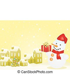 houses and snowman - Yellow vector of Christmas houses and...