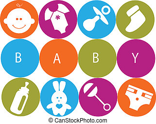 newborn baby card with baby accessories , vector...