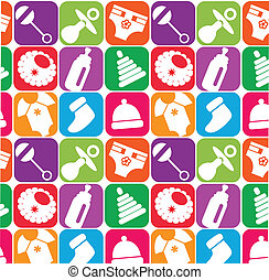 texture of toys and accesories for newborn , vector...