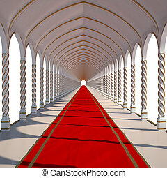 hall - long antique hall with red carpet isolated on white