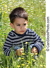 Male child in a flower field squatting