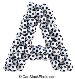 alphabet - soccer balls in the form of letters. isolated on...