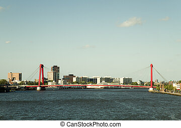 Willemsbrug in Rotterdam, the Netherlands with colors of old...