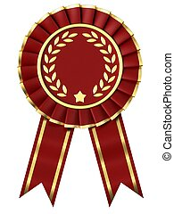 Red Ribbon Award isolated on white background.