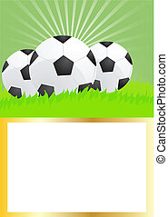 soccer balls on green grass - Card of soccer balls on green...