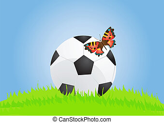 summertime - Vector illustration of soccer ball with...