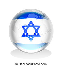 Sphere_Israel - Crystal sphere of Israel flag with world map