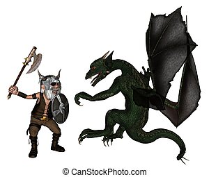 Toon Viking Dwarf and Dragon - Toon Viking warrior with an...