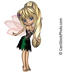 Cute Toon Fairy in Flower Dress 1 - Cute toon fairy in a...
