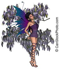 Wisteria Fairy - Fairy with purple Wisteria, 3d digitally...