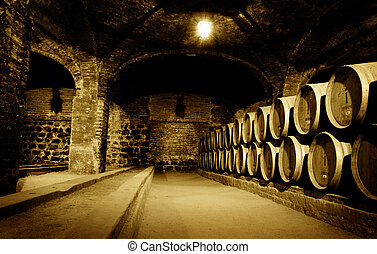 Wine Cellar - Old wine cellar with barrels