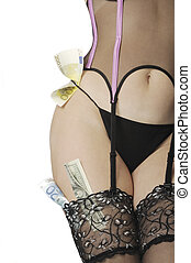Sexy striptease dancer - Sexy woman body with money,...