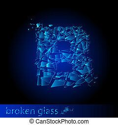 One letter of broken glass - B Illustration on black...