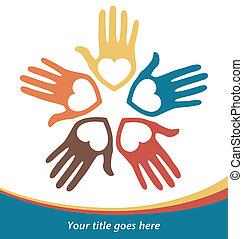 Circle of loving hands. - Circle of loving hands with copy...