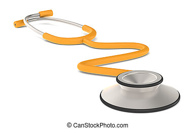 Stethoscope - Perspective view of a Stethoscope Orange