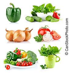 set fresh vegetables with green leaf - set fresh vegetable...