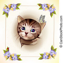 birthday card with  little tabby kitten and butterfly