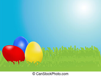 easter-eggs-in-a-grassland - Vector illustration of three...