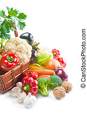 Vegetables - Mix of fresh ripe vegetables arranged in a...