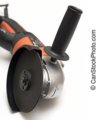 Angle grinder for metal cutting on a white