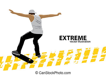 skater - illustration of a skater on white background