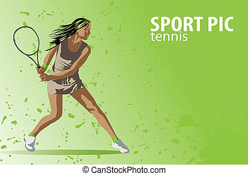 tennis illustration - tennis background (vector...