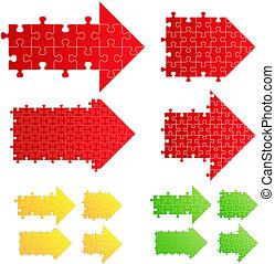 Vector arrows from puzzle pieces