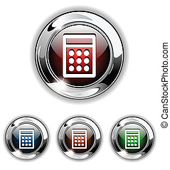 Calculator icon, button, vector ill