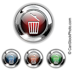 Delete icon, button, vector illustr