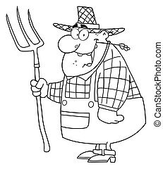Outlined Farmer Man Carrying A Rake - Outlined Happy Farmer...