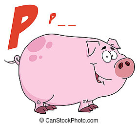 Pig Cartoon Character With Letter P