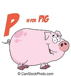 Pig Cartoon With Letter P - Pig Cartoon Character With...