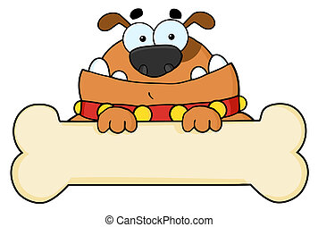 Cartoon Dog With Bone Banner - Brown Dog Over A Blank Bone...