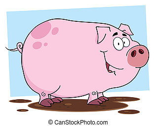 Cute Pig Cartoon Character