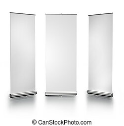 Blank roll-up posters - Three blank roll-up posters on white...