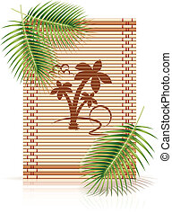 bamboo mat tropic palm vector illustration isolated on white...