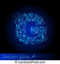One letter of broken glass - G. Illustration on black...