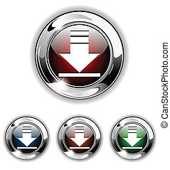 Download icon, button, vector illus