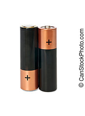two AA batteries standing on a white background isolated