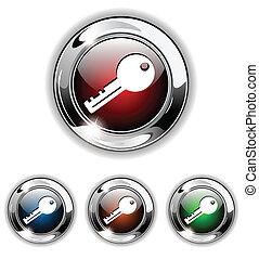 Key icon, button, vector illustrati - key, private icon,...