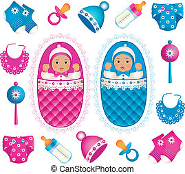 Asian twins with accessories - Illustration of asian twins...