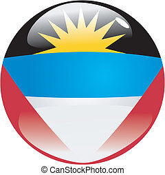Antigua and Barbuda - button in colors of Antigua and...
