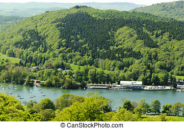 Lake Windermere from Cartmell Fell in Lake District National...